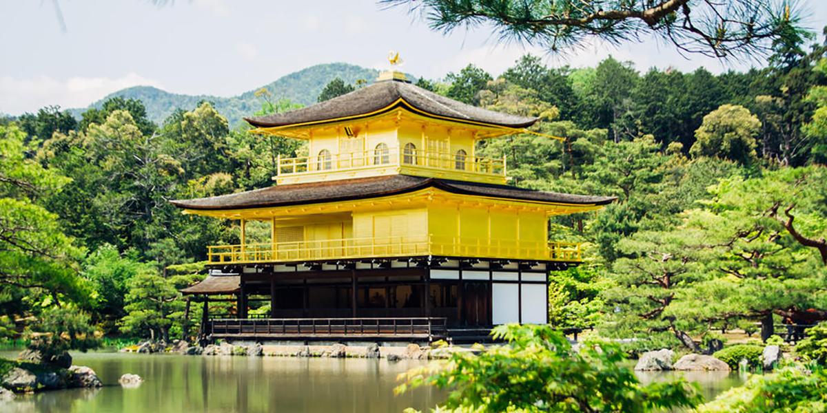 Buddhist Kinkaka-ji Temple in Kyoto, Japan