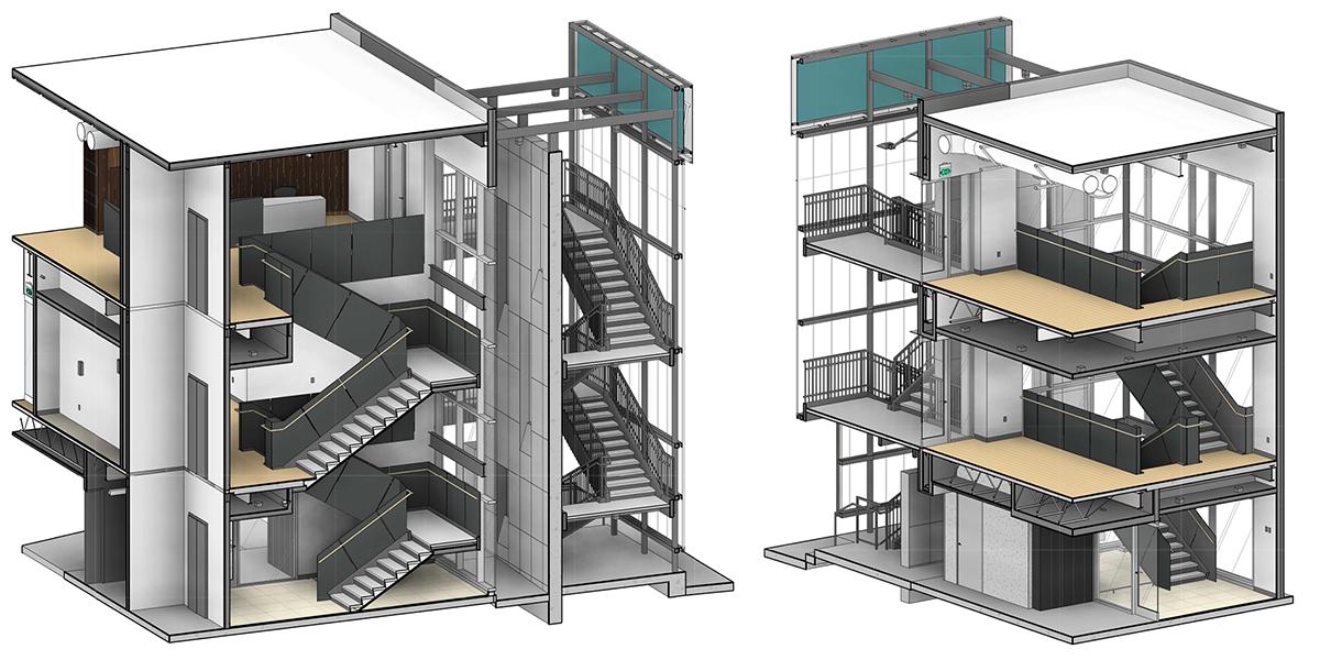 Oak Grove Interior Stair Metal Panels perspective views