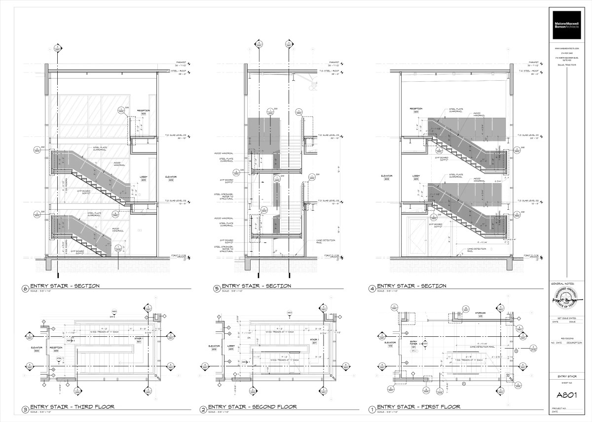 Oak Grove Interior Stairs Building Sections and Plans (shaded)