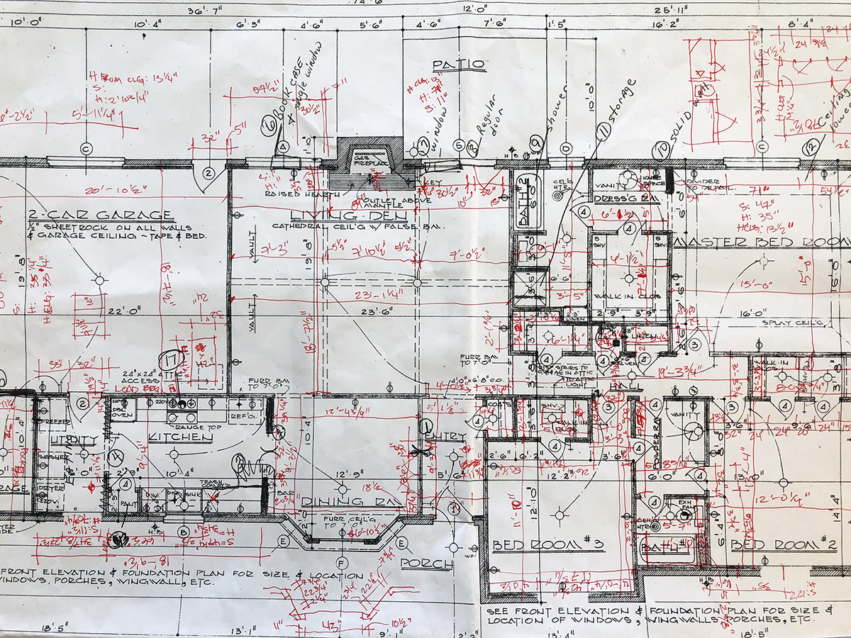 drawing with existing measurements