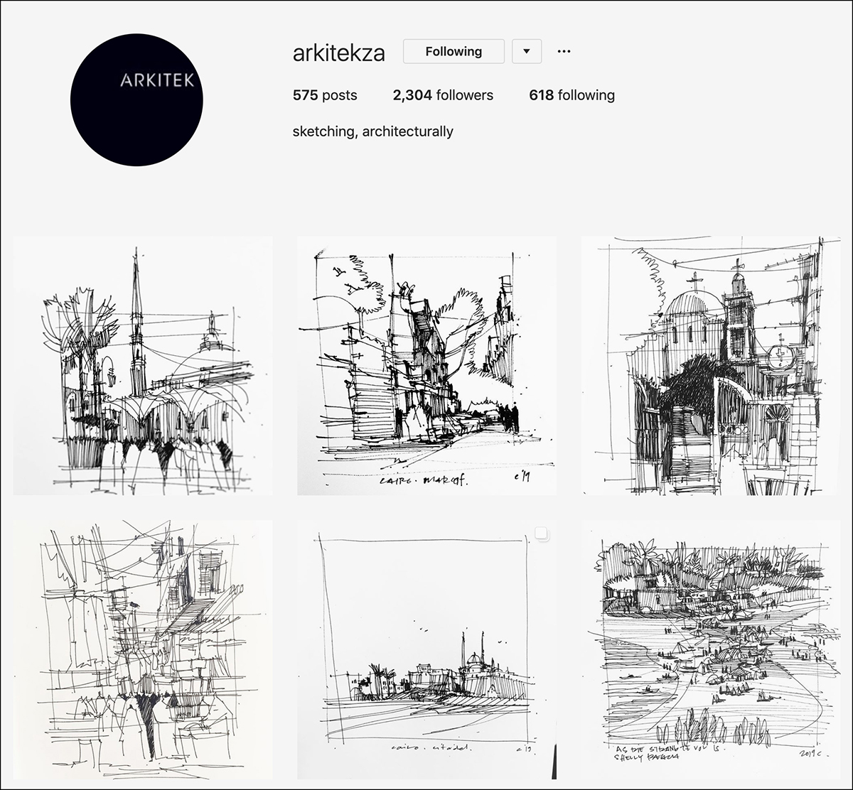 arkitekza Instagram account - good for sketching