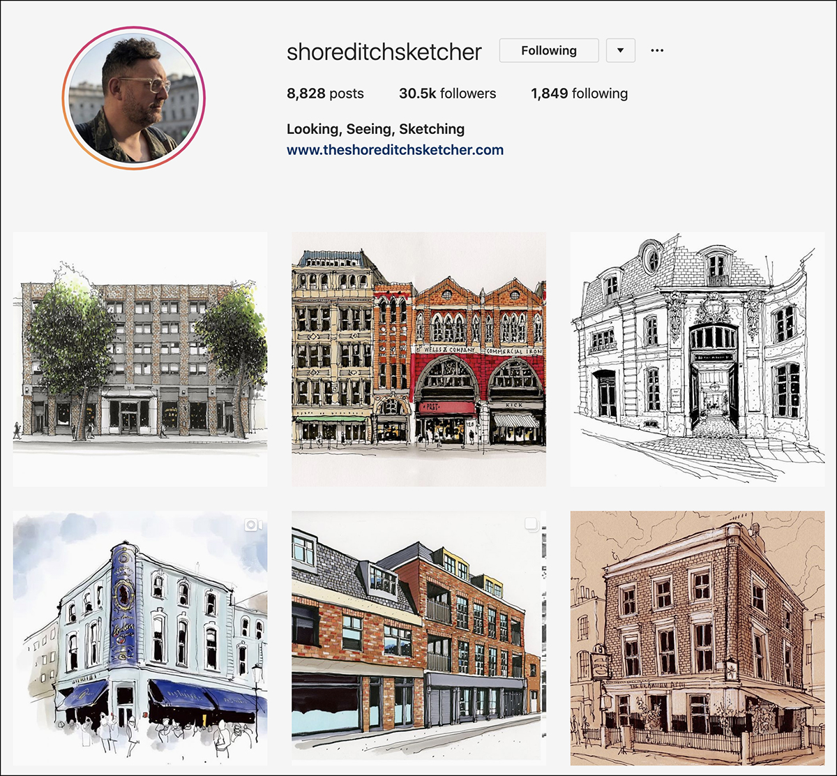 shoreditchsketcher Instagram account - good for sketching