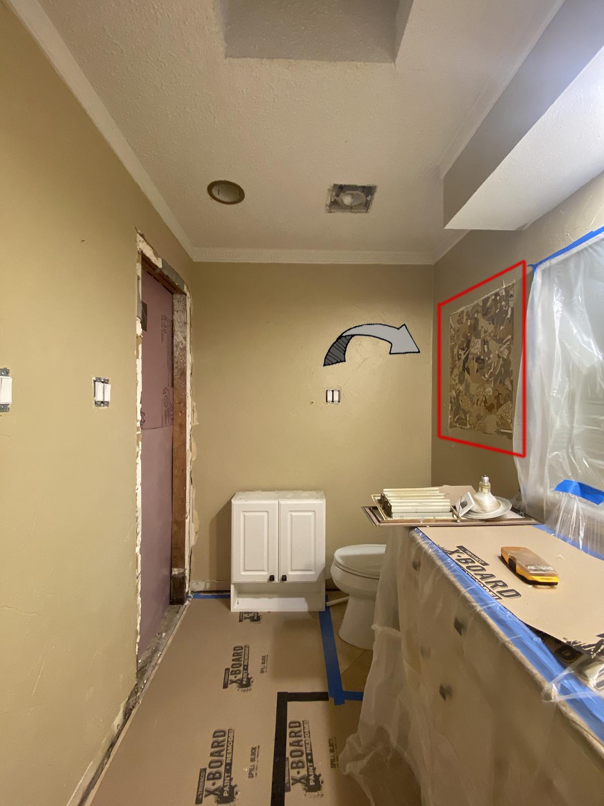 Wallpaper above toilet - sneak peak
