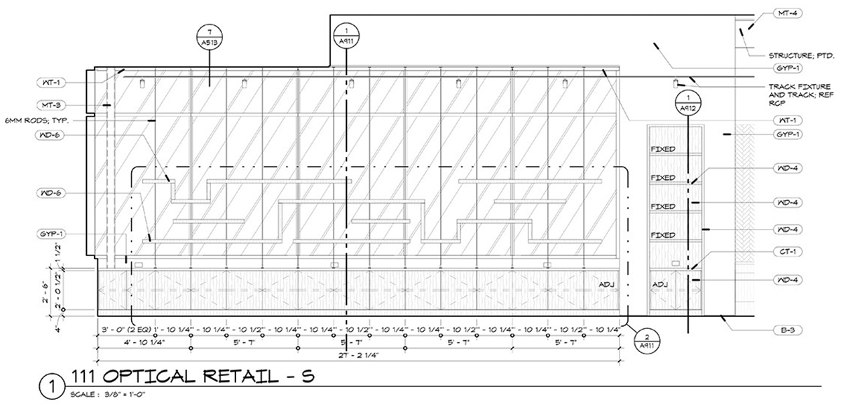 CTEC Oculus Construction-Drawings Exterior Wall Display - Dallas Architect Bob Borson