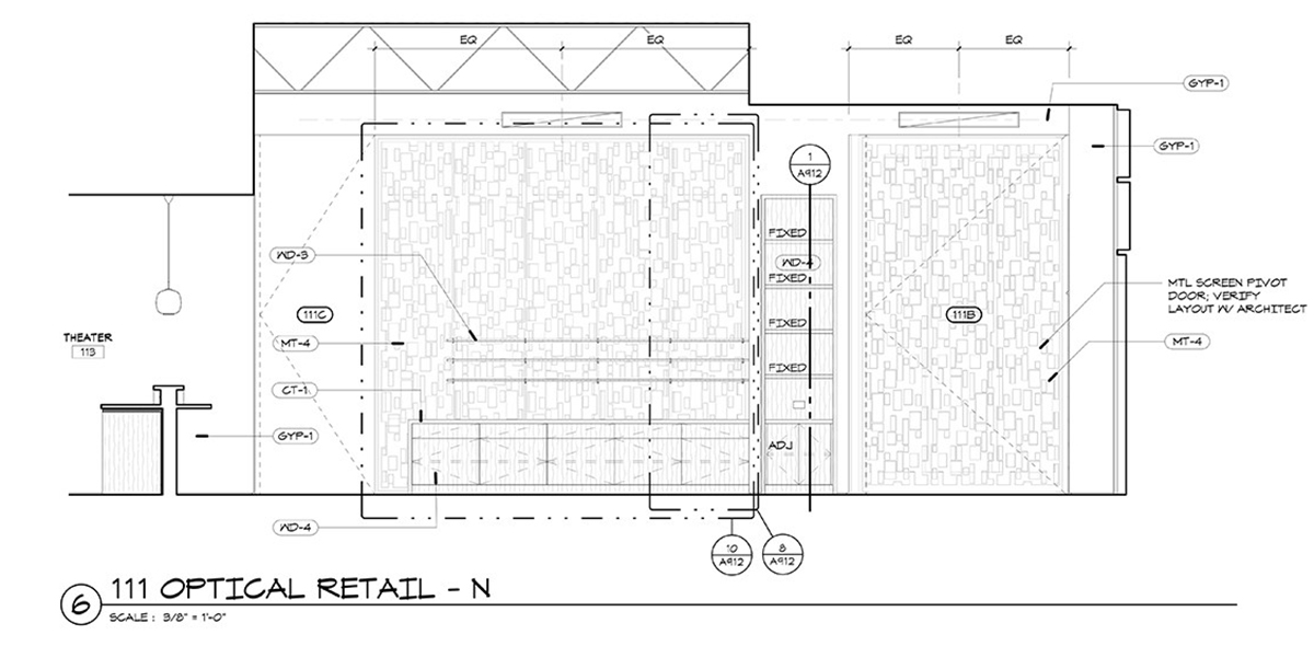 CTEC Oculus Construction Drawings Interior Wall Display - Dallas Architect Bob Borson