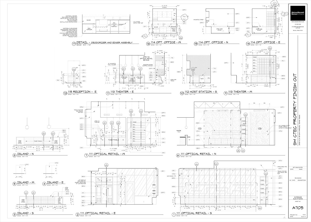 Interior elevations - construction drawings