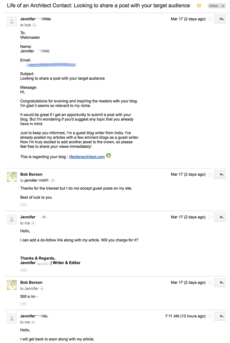 Emails to Life of an Architect