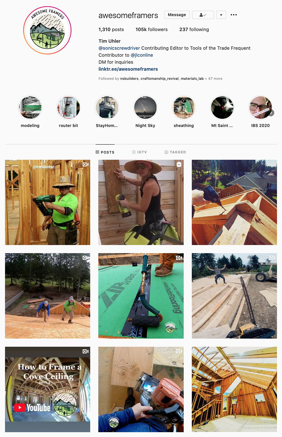 Best Construction Instagram Accounts Awesome Framers