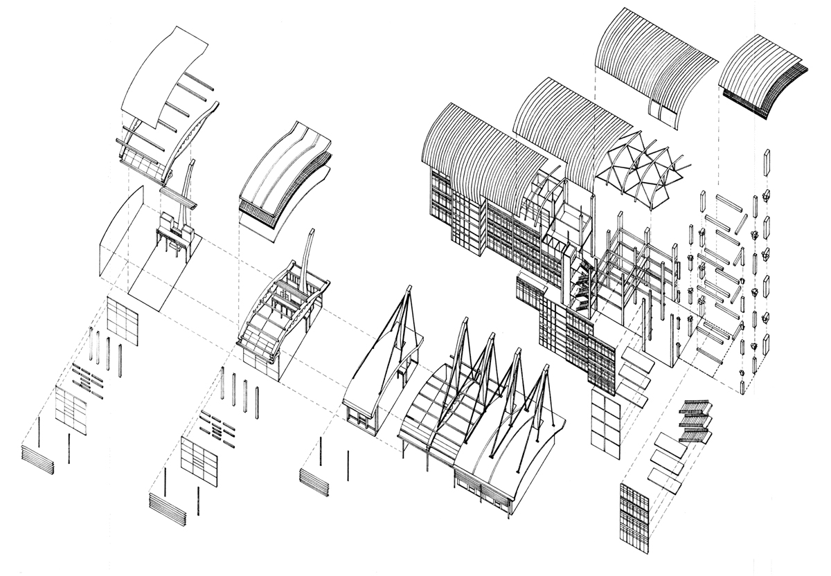 Hand Drawn Exploded Axonometric