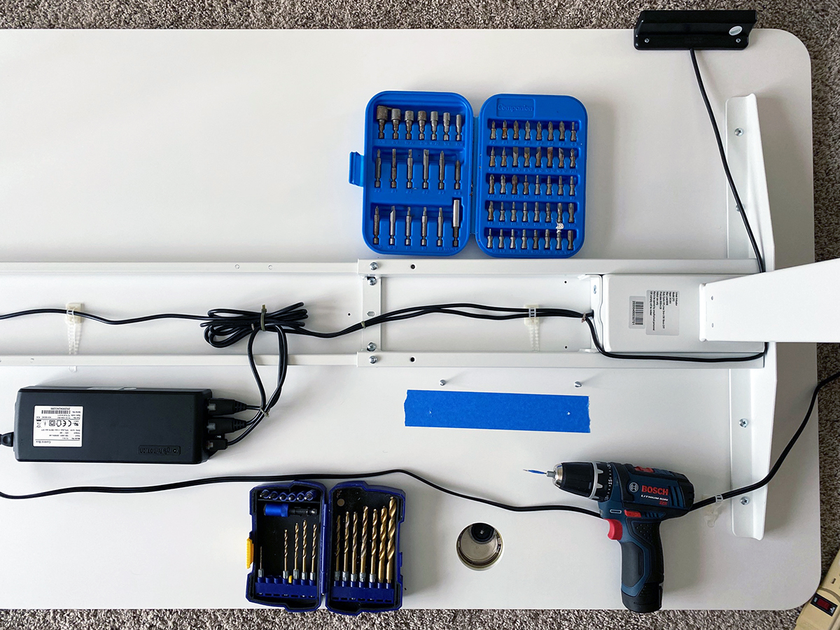 installing a power strip on a stand sit desk by Bob Borson