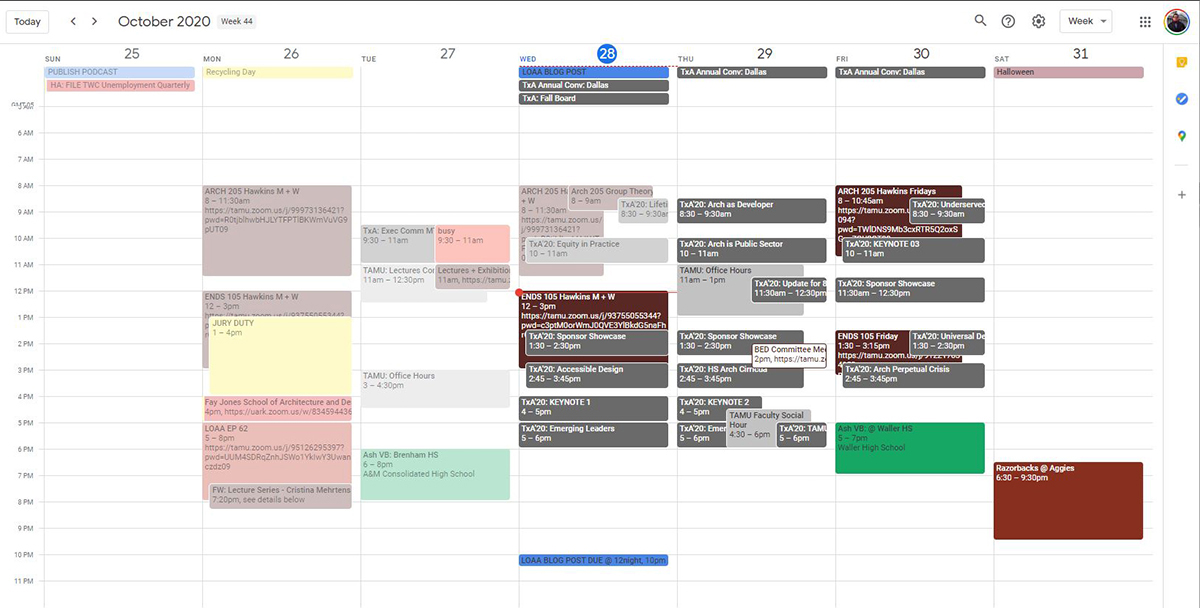 Andrew's Weekly Calendar