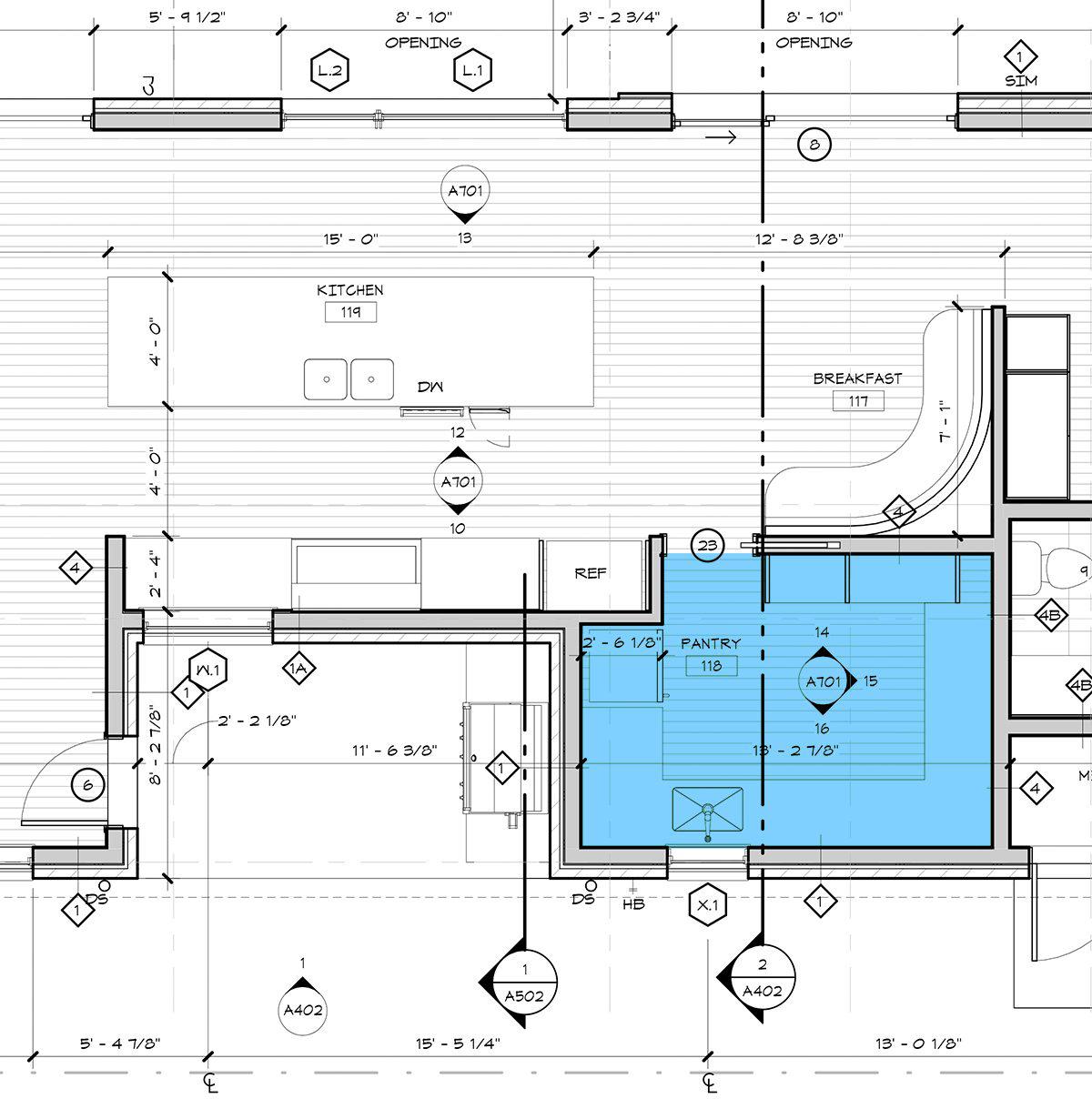 Enlarged Butler's Pantry plan - Dallas Architect Bob Borson