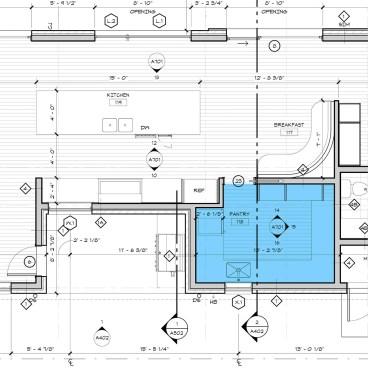 Enlarged Butler's Pantry plan