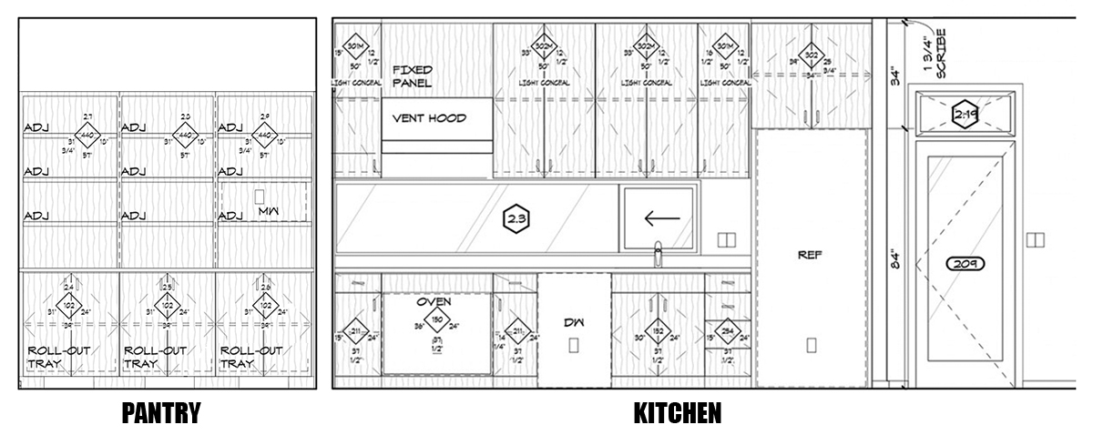 Pantry and Kitchen Elevations drawing - Dallas Architect Bob Borson