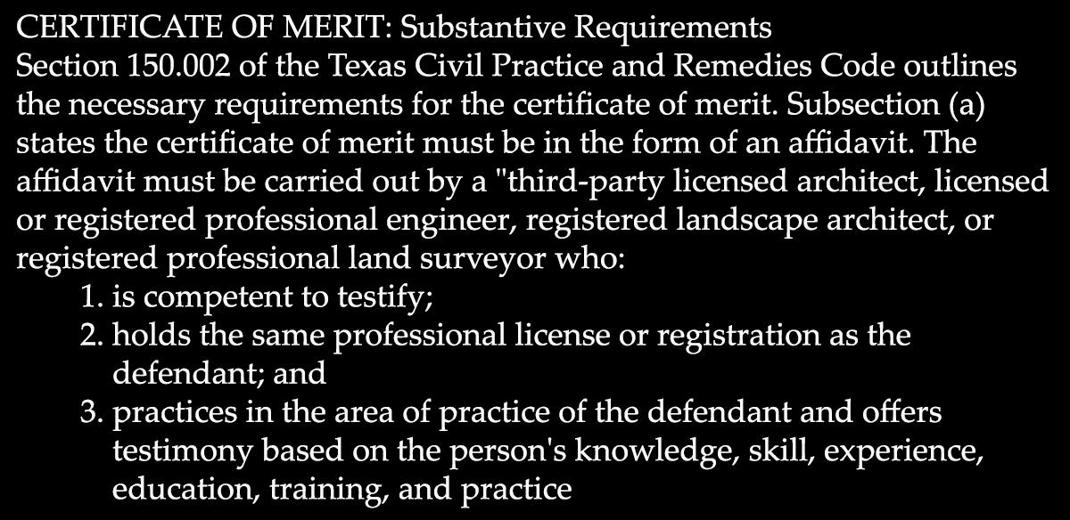 Certificate of Merit Requirements
