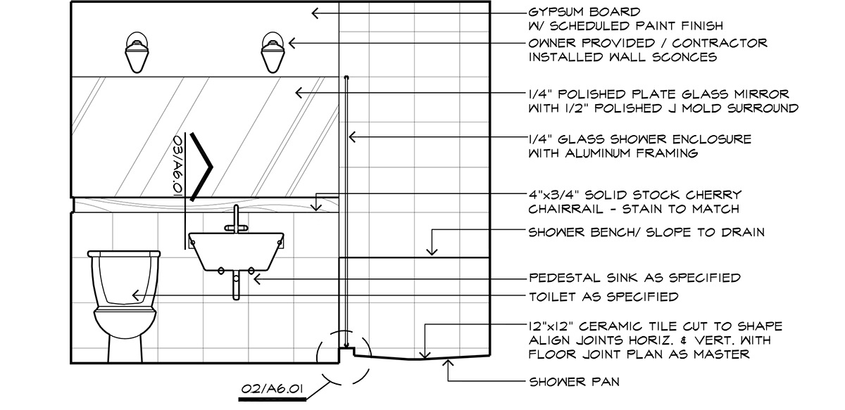 Interior Bathroom elevation - Architectural Graphics: Arrows or Ticks?
