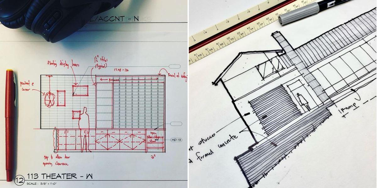 architectural sketch Bob Borson arrow and tick marks