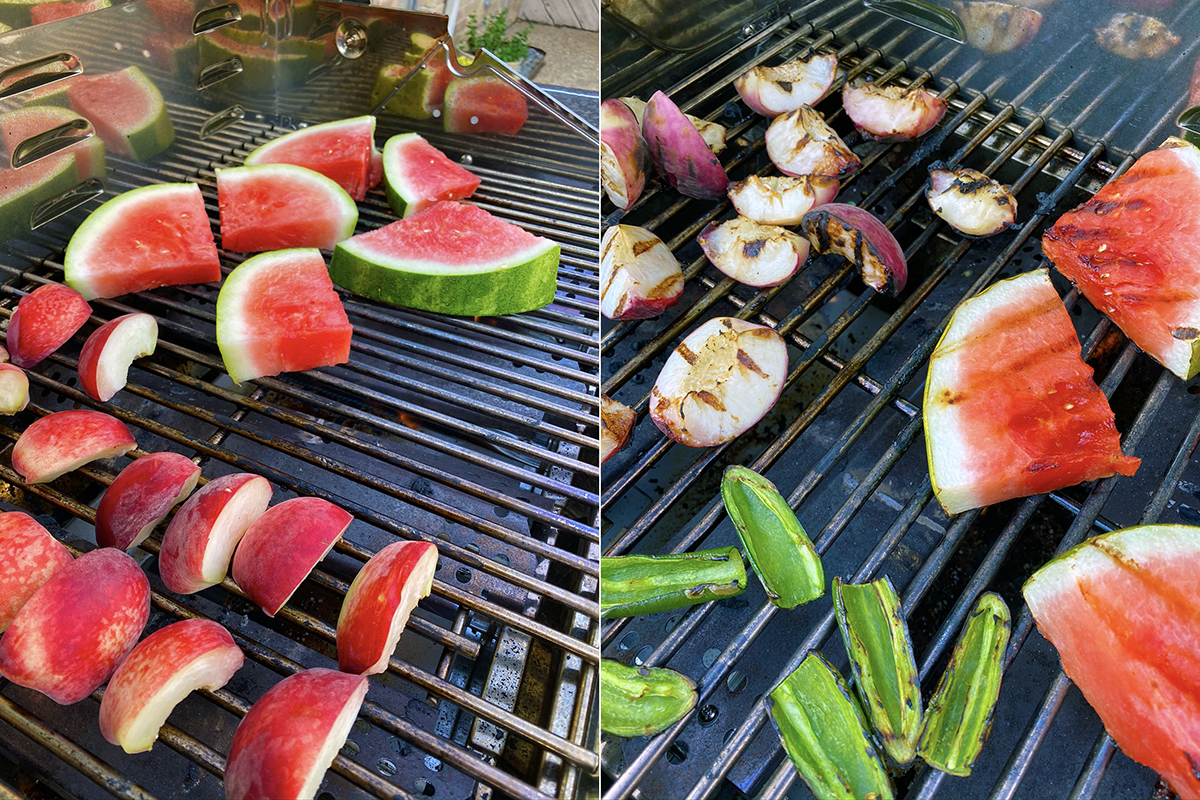 Grilling the watermelon and peaches for margaritas - Happy Hour at the Borson House