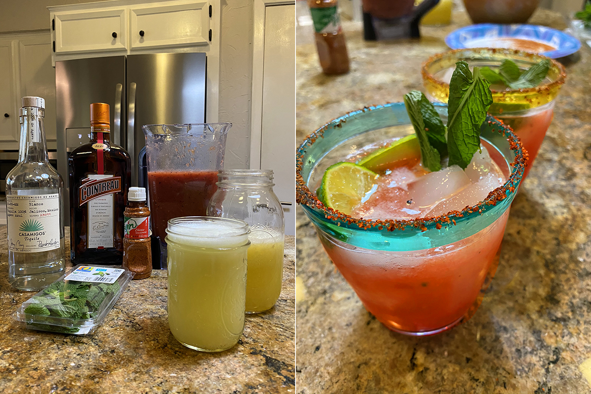 Grilled Watermelon and Peach Margarita assembly - Happy Hour at the Borson House