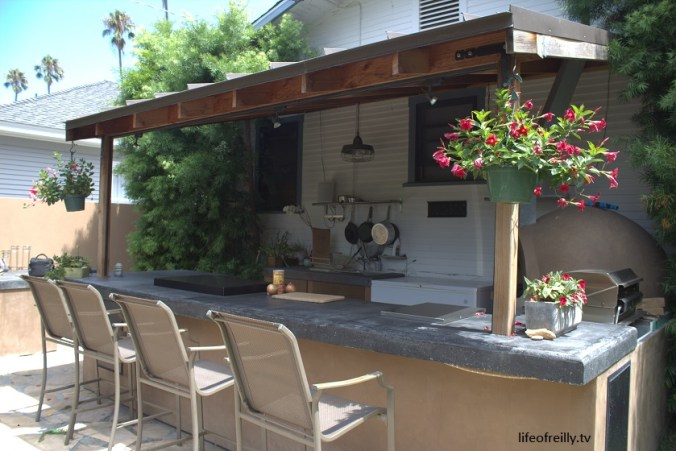 The outside kitchen/bar area at our House Swap in La Jolla, California