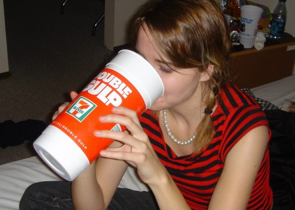 The Double Gulp holds 64oz (1.2L) of your favourite type of soft drink/soda. Photo: Russell Bernice