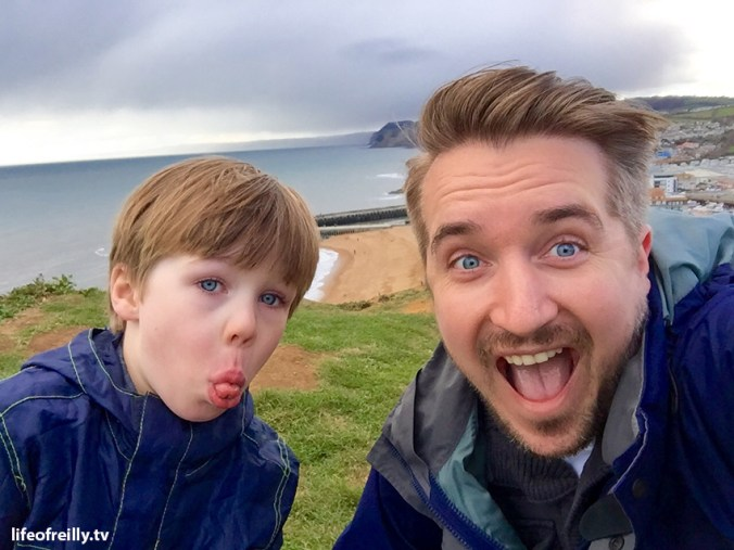 Dylan and David at the top of the Broadchurch cliff