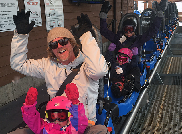 The Fergusons on the rollercoaster outside their Home Swap in Colorado! Photo: Bob Ferguson