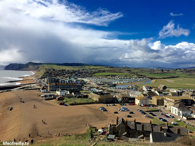 The view from the top of the 'Broadchurch' cliff overlooking West Bay