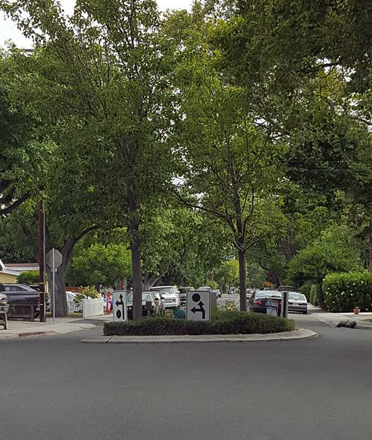 Ever seen a more confusing roundabout since the Arc de Triomphe? Taken in Mountain View, Northern California by Danielle Reich.
