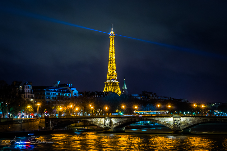 Eiffel Tower at night.