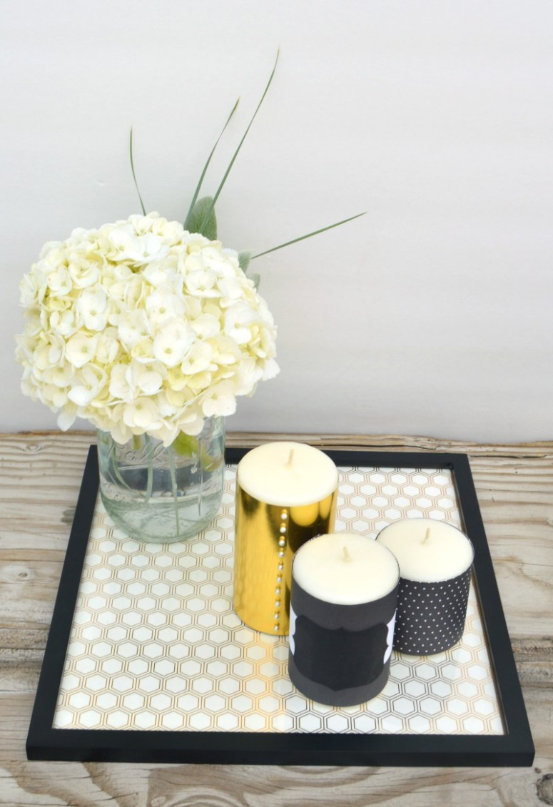 Black and Gold Candle Centerpiece