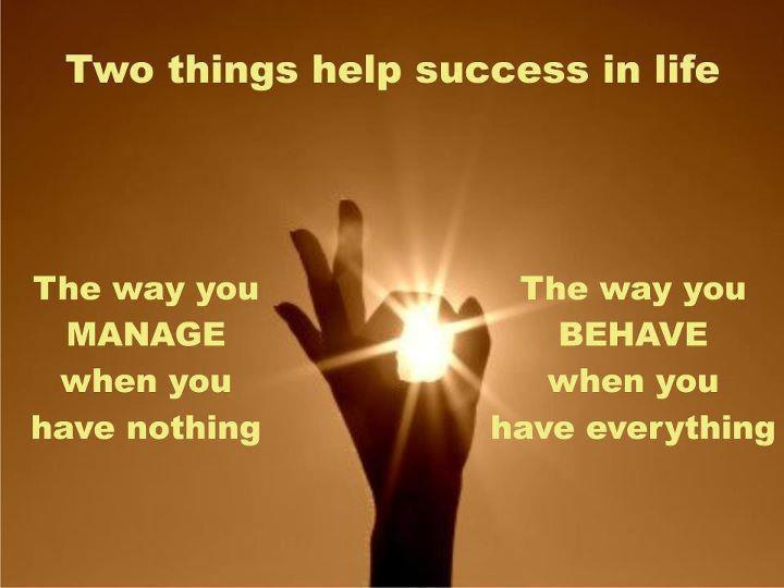 Two things help success