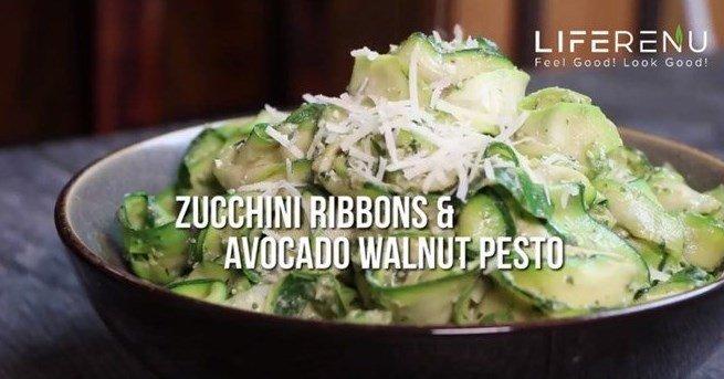 Keto Zucchini Ribbons and Avocado Walnut Pesto