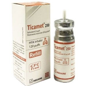 Ticamet™HFA (refill) - Inhaler (25 mcg+250 mcg)-puff ( Square )