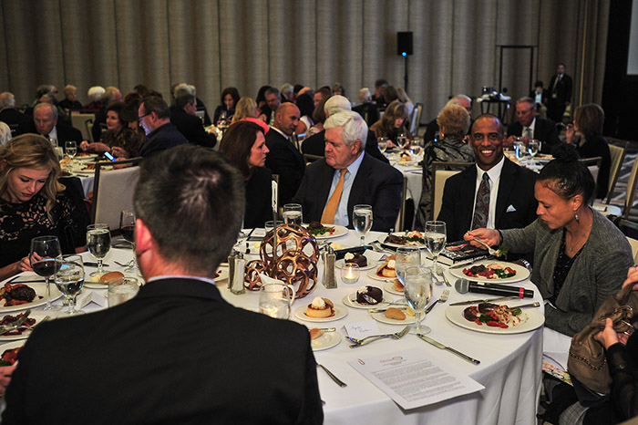 Angela Paxton, Newt Gingrich, and Scott Turner Eating Dinner