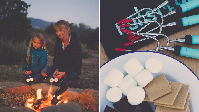 Two images: The left image is of a mother and her daughter roasting marshmallows with the Jolly Green Products roasting sticks, and the right image is of a plate of ingredients used to make smores, with the roasting sticks nearby.
