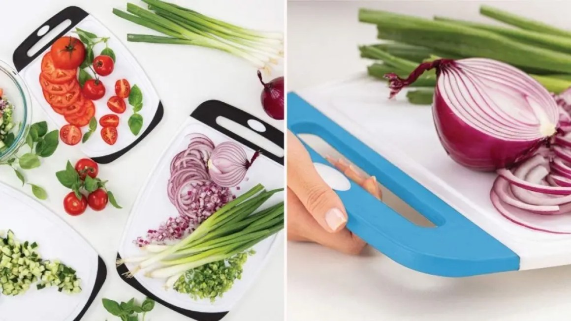 Two images: the left image is of three Gorilla Grip cutting boards with various vegetables on top, and the right image is of a blue and white Gorilla Grip cutting board with a sliced red onion and green onions in the back.