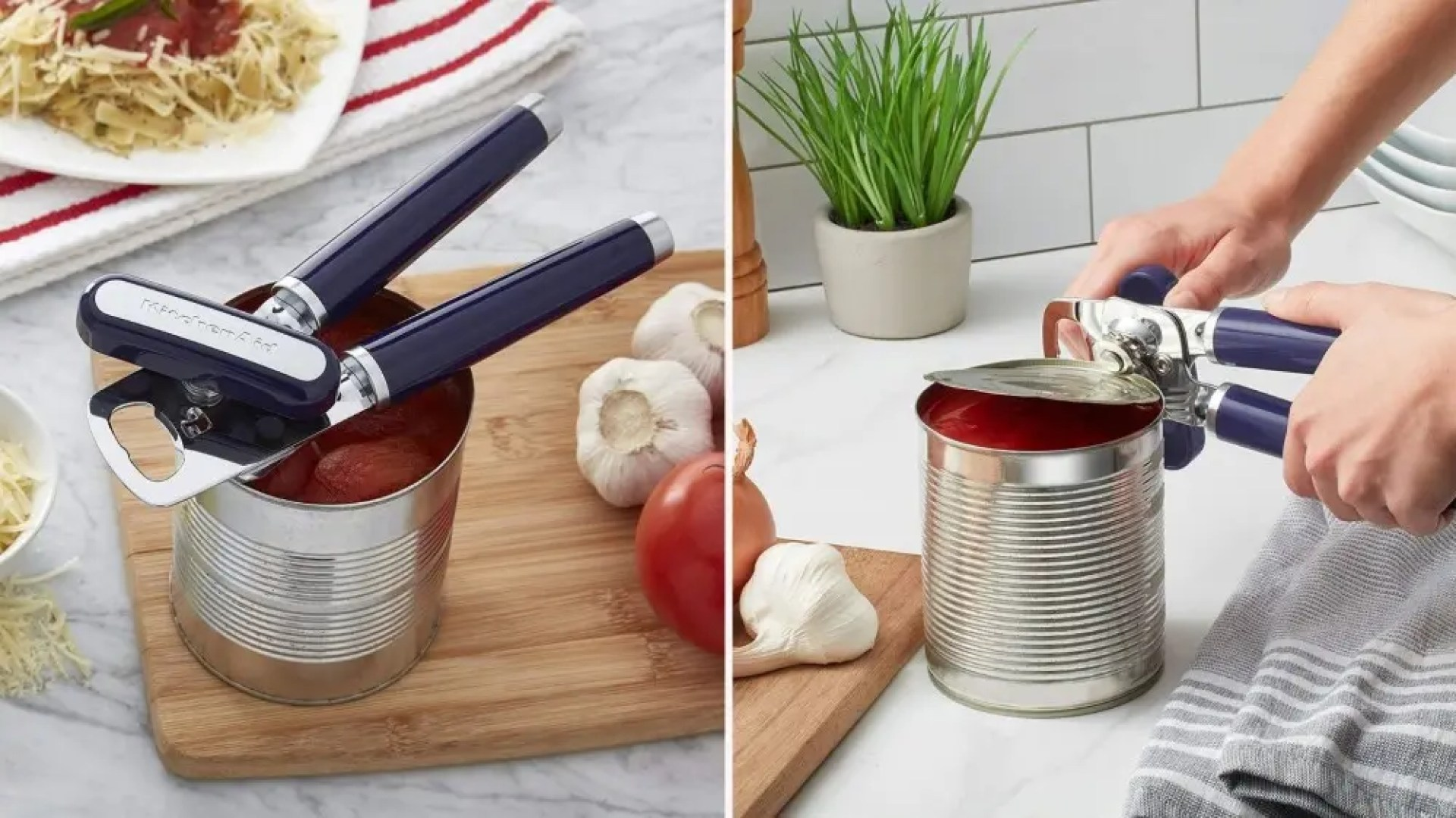 Two side by side images; the lef tis of a KitchenAid Can opening placed directly on an open can of tomatoes and the right image is of a woman opening a can with the same can opener.