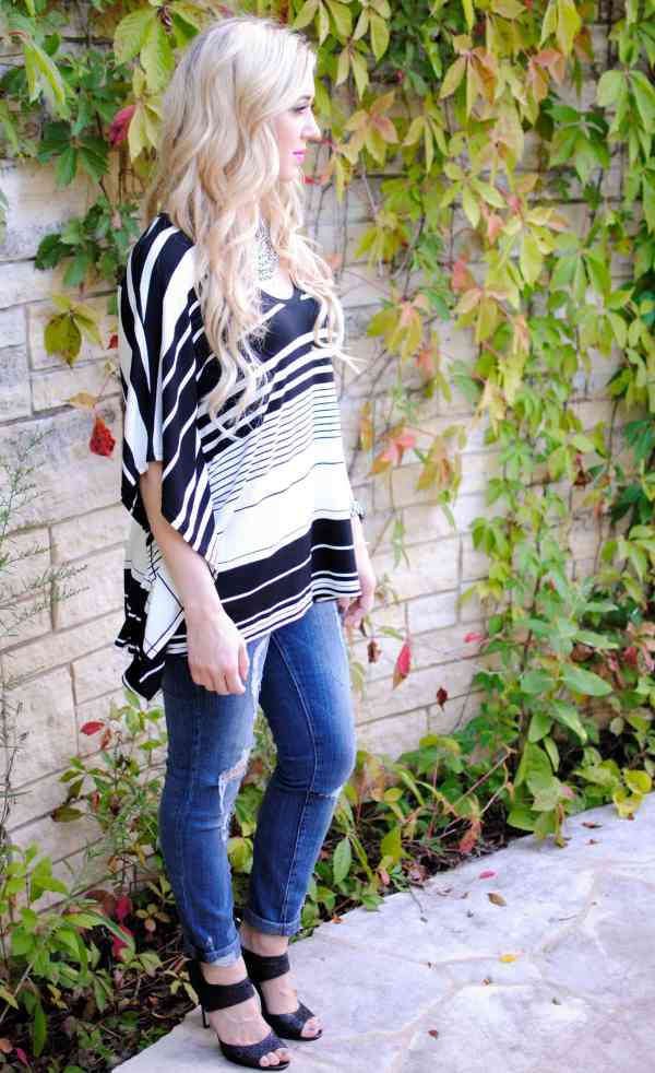 bcbg black white poncho