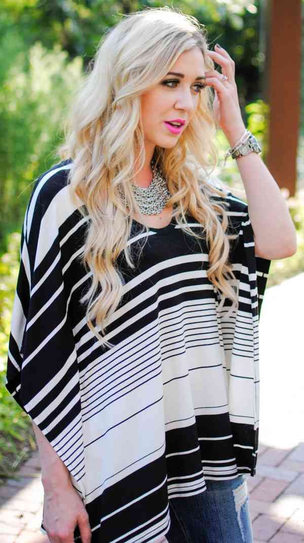 BCBG black & white stripe