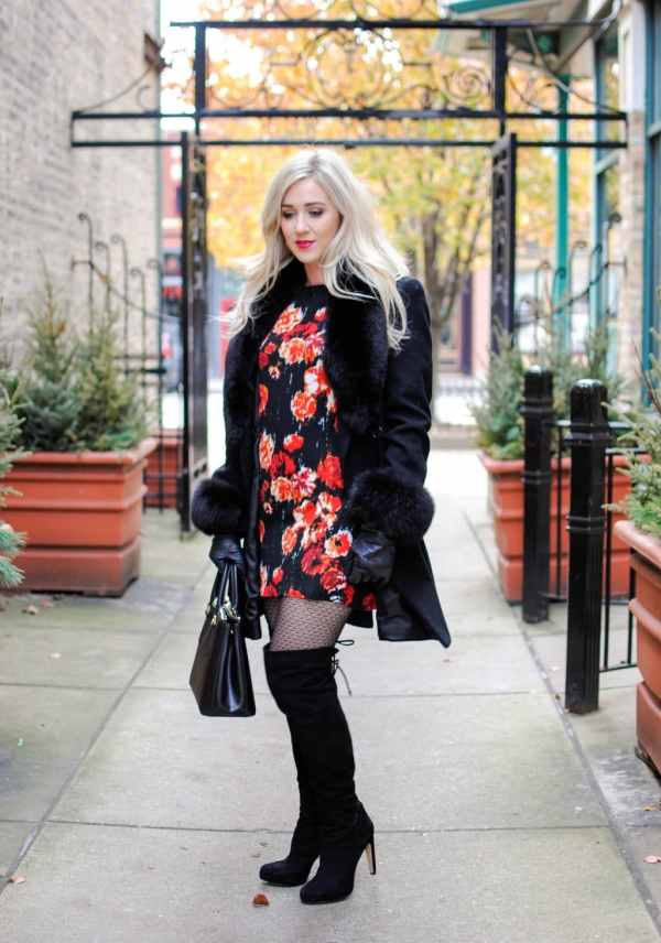 floral dress, black coat