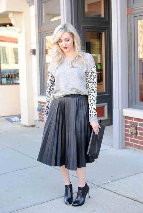 leather skirt, leopard sweatshirt