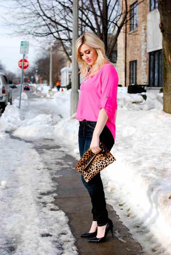 ASTR pink top, clare v leopard clutch