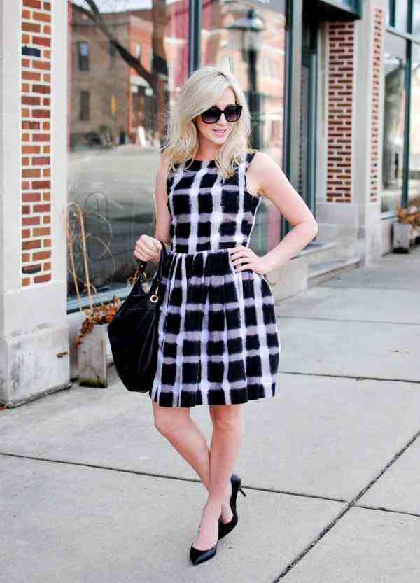 marc by marc jacobs Grid Print Cotton & Silk Fit & Flare Dress