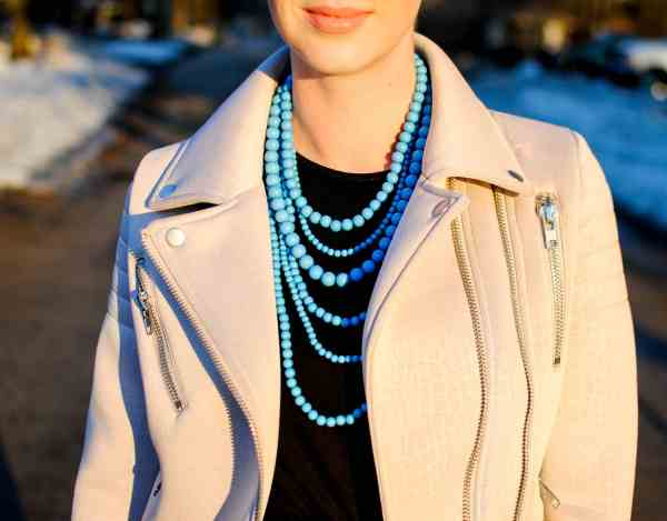 blue necklace, glamorous jacket