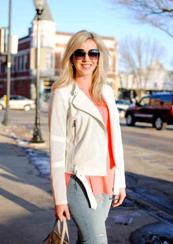 trouve white jacket, astr top
