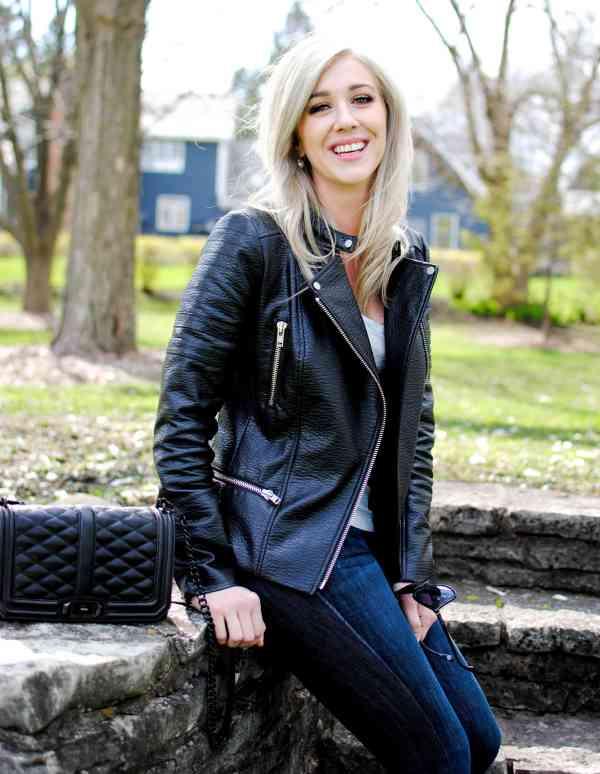 trouve vegan biker leather jacket