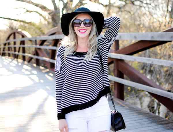 black & white spring light weight sweater