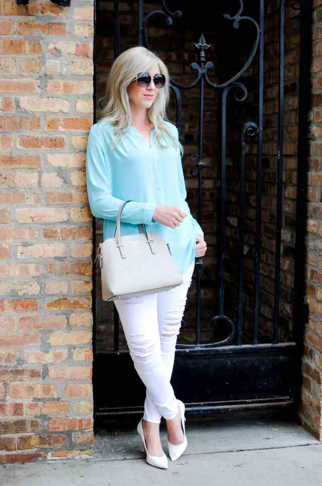 White Distressed Jeans, Turquoise Top