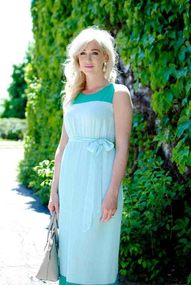 blue green maxi dress